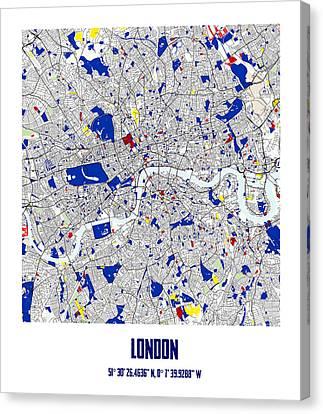 London Piet Mondrian Style City Street Map Art Canvas Print by Celestial Images