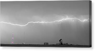 Long Lightning Bolt Strike Across Oil Well Country Sky Canvas Print by James BO  Insogna