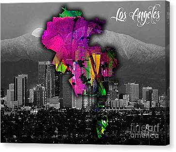 Los Angeles Map And Skyline Watercolor Canvas Print by Marvin Blaine