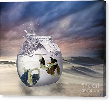2 Lost Souls Living In A Fishbowl Canvas Print by Linda Lees