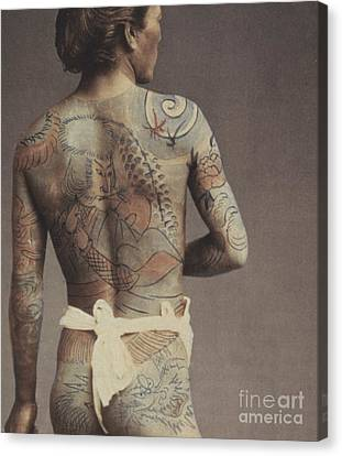 Man With Traditional Japanese Irezumi Tattoo Canvas Print by Japanese Photographer