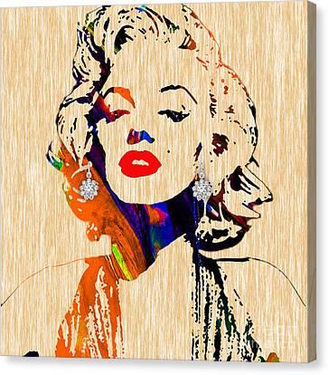 Marilyn Monroe Diamond Earring Collection Canvas Print by Marvin Blaine