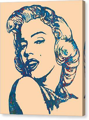 Marilyn Monroe Stylised Pop Art Drawing Sketch Poster Canvas Print by Kim Wang