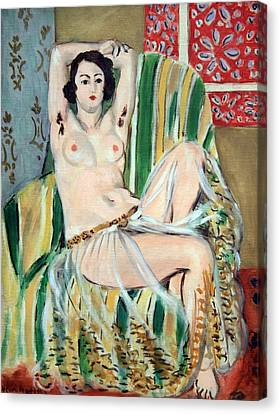 Matisse's Odalisque Seated With Arms Raised In Green Striped Chair Canvas Print by Cora Wandel