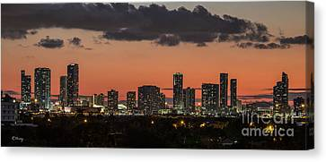 Miami Sunset Skyline Canvas Print by Rene Triay Photography