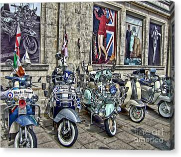 Mod Scooters And 60s Fashion Canvas Print by Jasna Buncic