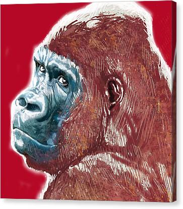 Monkey - Stylised Drawing Art Poster Canvas Print by Kim Wang