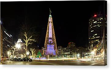 Monument Circle At Christmas Canvas Print by Twenty Two North Photography