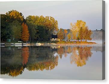 Morning At Lake Emily Canvas Print by Barbara Smith