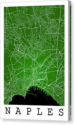 Naples Street Map - Naples Italy Road Map Art On Color Canvas Print by Jurq Studio