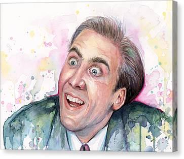 Nicolas Cage You Don't Say Watercolor Portrait Canvas Print by Olga Shvartsur