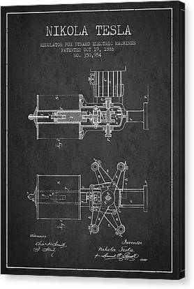 Nikola Tesla Patent Drawing From 1886 - Dark Canvas Print by Aged Pixel