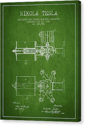Nikola Tesla Patent Drawing From 1886 - Green Canvas Print by Aged Pixel