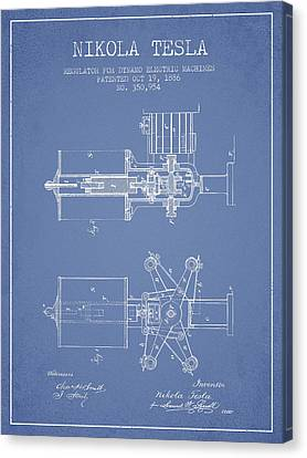 Nikola Tesla Patent Drawing From 1886 - Light Blue Canvas Print by Aged Pixel