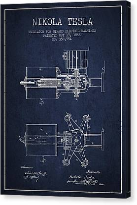 Nikola Tesla Patent Drawing From 1886 - Navy Blue Canvas Print by Aged Pixel