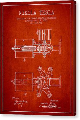 Nikola Tesla Patent Drawing From 1886 - Red Canvas Print by Aged Pixel