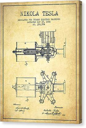 Nikola Tesla Patent Drawing From 1886 - Vintage Canvas Print by Aged Pixel
