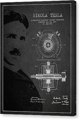 Nikola Tesla Patent From 1891 Canvas Print by Aged Pixel