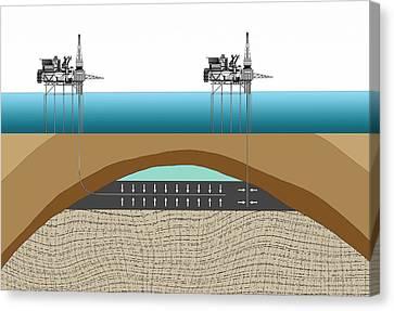 Offshore Oil Drilling Canvas Print by Mikkel Juul Jensen