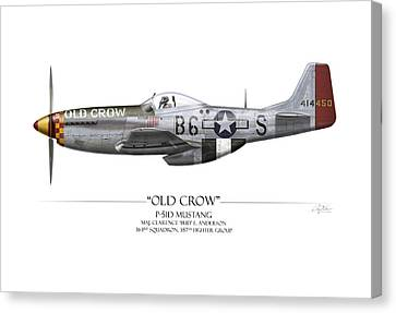 Old Crow P-51 Mustang - White Background Canvas Print by Craig Tinder