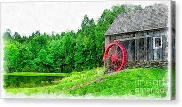 Old Grist Mill Vermont Red Water Wheel Canvas Print by Edward Fielding