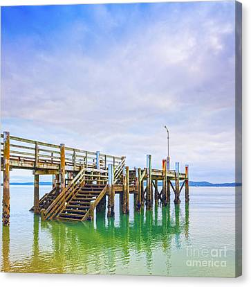 Old Jetty With Steps Maraetai Beach Auckland New Zealand Canvas Print by Colin and Linda McKie