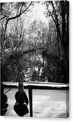 On Board An Airboat Ride Through A Mangrove Jungle In Everglades City Florida Everglades Canvas Print by Joe Fox