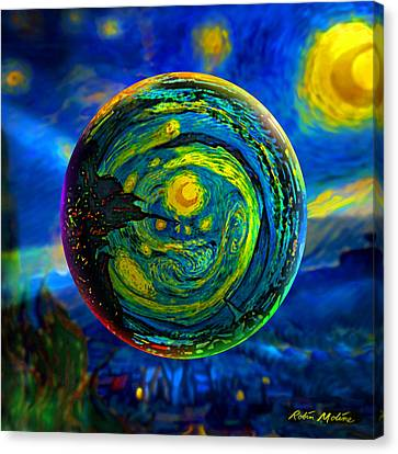 Orbiting A Starry Night  Canvas Print by Robin Moline