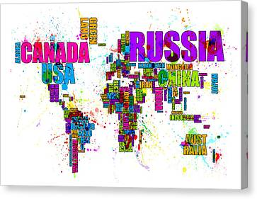 Paint Splashes Text Map Of The World Canvas Print by Michael Tompsett