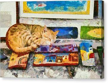 Painting Of Artist Cat Canvas Print by George Atsametakis