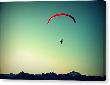 Paraglider Canvas Print by Chevy Fleet