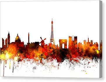 Paris France Skyline Canvas Print by Michael Tompsett