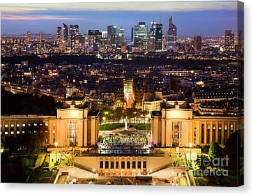 Paris Panorama France At Night Canvas Print by Michal Bednarek