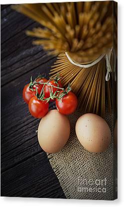 Pasta Ingredients Canvas Print by Mythja  Photography