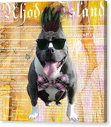 Pitbull Bowtie Collection Canvas Print by Marvin Blaine