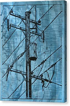 Pole With Transformer Canvas Print by William Cauthern
