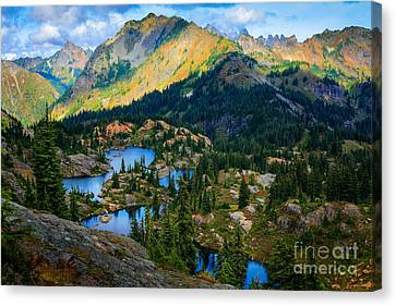 Rampart Lakes Canvas Print by Inge Johnsson