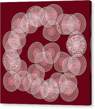 Red Abstract Circles Canvas Print by Frank Tschakert