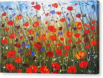 Red Poppifield Canvas Print by Jolina Anthony