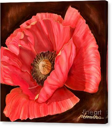 Red Poppy Two Canvas Print by Joan A Hamilton