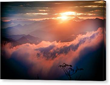 Red Sunset Himalayas Mountain Nepal Canvas Print by Raimond Klavins