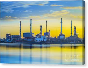 Refinery Industrial Plant Canvas Print by Anek Suwannaphoom