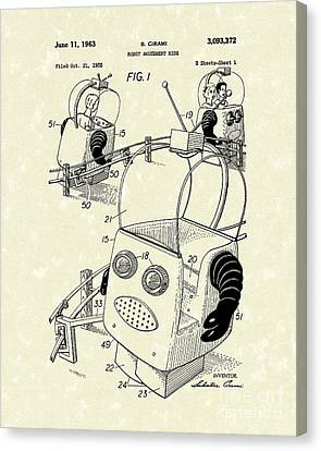 Robot Ride 1963 Patent Art Canvas Print by Prior Art Design