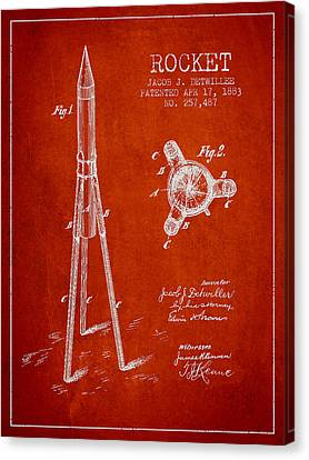 Rocket Patent Drawing From 1883 Canvas Print by Aged Pixel