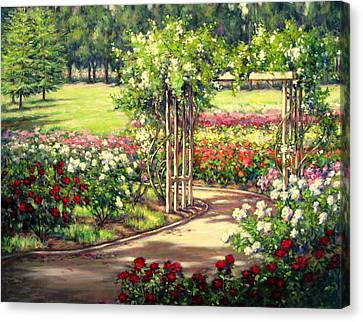 Rose Garden Arbor Canvas Print by Vickie Fears
