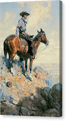 Sentinel Of The Plains Canvas Print by William Herbert Dunton