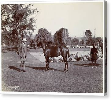 Sir Hugh Barnes With His Horse Canvas Print by British Library