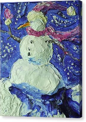 Snowman Canvas Print by Paris Wyatt Llanso