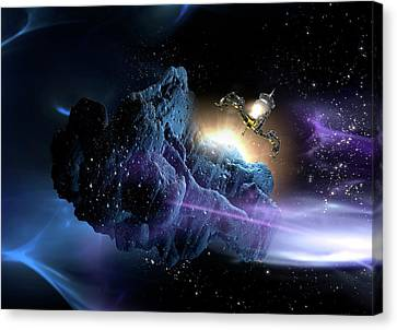 Spacecraft Landing On Asteroid Canvas Print by Victor Habbick Visions