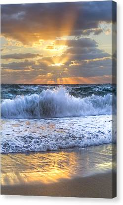 Splash Sunrise Canvas Print by Debra and Dave Vanderlaan